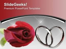 Wedding Powerpoint Template Simple Red Rose With Wedding Rings Flower PowerPoint Templates Ppt