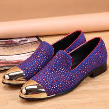 Red Designer Loafers Mens Luxury Mens Gold Metal Toe Loafers Purple Grooms Wedding