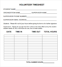 daily timesheet template free printable volunteer hours form template sample service hour form 13 download