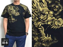 hand drawn short sleeve t shirt unryu hand painted feathers hydration design japanese dragon writing dragon 05p01oct16