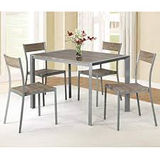 image unavailable image not available for color christies home living contemporary style metal wood 5 piece dining table set with 4 chairs