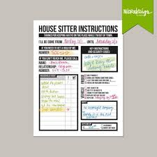 House Sitting Checklist House Sitter Instructions