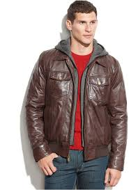 guess leather jacket with knit hood
