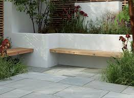 Small Picture Contemporary hardwood benches built into a white rendered walled