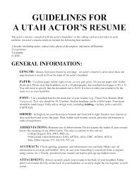 Cover Letter Actors Resumes Examples Actors Resume Samples