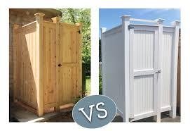 cedar vs pvc outdoor shower kits