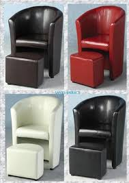 faux leather tub chair and footrest. luxury faux leather tub chair comfortable with foot stool that fit underneath. and footrest