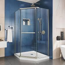 DreamLine Prism 36.125-in to 36.125-in Frameless Brushed Nickel Pivot Shower  Door