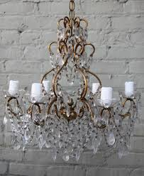 six light crystal macaroni beaded chandelier with crystal drops throughout newly wired with wax