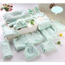 Set quà tặng đồ sơ sinh cotton 18 chi tiết mùa xuân hè thu cho bé trai màu  xanh nhạt   Quần áo sơ sinh khác