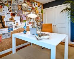 Example of a trendy freestanding desk medium tone wood floor home office  design in DC Metro