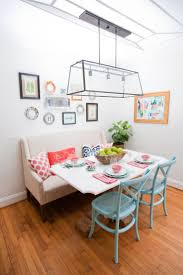 Hollie Hill Home Tour // breakfast nook // turquoise chairs // bench seat