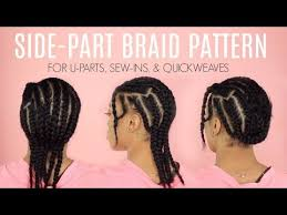 Side Part Sew In Braid Pattern