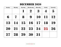 Free Download Printable December 2020 Calendar Large Font