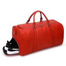 red tumbled leather duffle bag