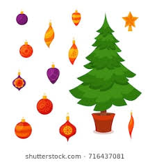 christmas tree light bulb clipart. Fine Tree Christmas Tree Decorated Vector Illustration Star Decoration Balls And Light  Bulb Chain Gift To Tree Light Bulb Clipart