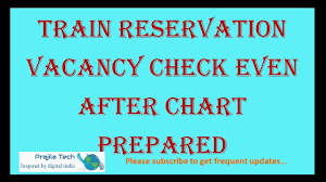 Train Irctc Reservation Chart Vacancy Check Online Even After Final Chart Preparation Online