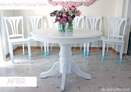 bubbly lifehow paint dining room table chairs makeover white howtopaintadiningtable kitchen off sets farmhouse solid wood