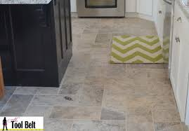 Herringbone Kitchen Floor Silver Travertine Tile Herringbone Floor Tutorial Her Tool Belt