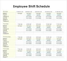 Staff Schedule Template For Daycare Employee Shift Restaurant Roster