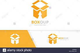 Upload My Logo Design Vector Box And Arrow Up Logo Combination Package And Growth