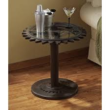 Creative Idea:Round Black Gear Steampunk Side Table On Brown Wood Flooring  12 Dazzling Steampunk