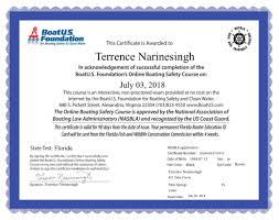 Safety Terrence Course Boat Narinesinghterrence Foundation s U Narinesingh - Boating Certificate