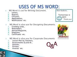 Ms Word Powerpoint Ppt Ms Word Word Processing Powerpoint Presentation Id 6301655