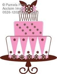 layer cake clipart. clip art illustration of 3 layer bakery cake covered in fondant clipart #