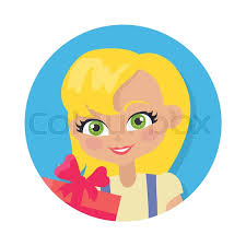 with fair hair and forelock avatar userpic portrait of female person with green eyes yellow t shirt big red gift box blonde woman in cartoon style