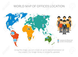 Location Chart Map Infographics With Pointers World Map Location Chart And