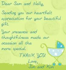 Baby Gift Thank You Note Highly Appreciated Baby Shower Thank You Note Wordings Baby Shower