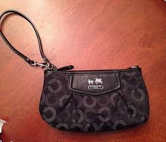 Coach Madison Op Art Large Wristlet Black Silver Gray Can Be Used As Purse  EUC
