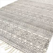 off white black cotton block print area accent dhurrie rug woven flat weave 3 x 5 to 8 x 10 ft