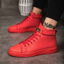 black red men lace up ankle boots flats