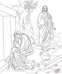 Small Picture Jesus Appears to Mary Magdalene after Resurrection coloring page