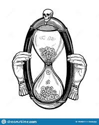 Decorative Antique Hourglass Illustration With Skull Sketch For