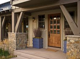 Stone And Wood Pillars For Angled Porch Design (Image 15 of 20)