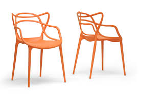orange plastic chair. Baxton Studio 173 App Orange Aeriss Stackable Modern Dining Stylish Outdoor Chair Plastic B