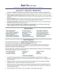 Sample It Project Manager Resume Unique Construction Senior Project Manager Job Description Manager Resume