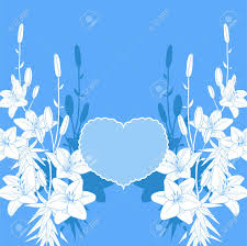Wedding Invitation Background Blue Blue And White Lily Vector Love Card Wedding Invitation Template
