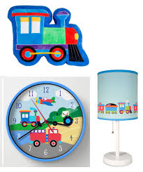 3pc toddler sheet set train pillow sham train plush pillow clock lamp with base