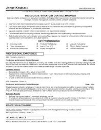 Resume Inventory Control Manager