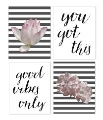 wall art poster set 8x10 art sets wall sets contemporary modern wall decor with inspirational quotes great for bedroom living room office entryway  on wall art 4 piece set with veni vidi vici ink print art 4 piece wall art set