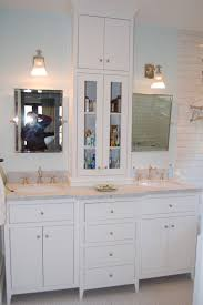 Bathroom Cabinet Tower Custom White Bathroom Vanity With Tower By Wooden Hammer Llc