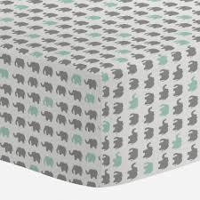 gray and mint elephant parade crib sheet