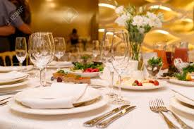 Round Table Settings For Weddings Sparkling Glassware Stands On Round Table Prepared For Wedding
