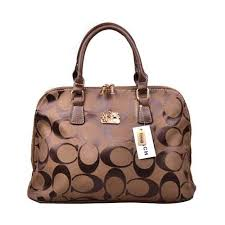 Coach Logo Monogram Large Coffee Satchels DOR