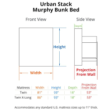 murphy bunk bed plans. Urban Stack Murphy Bunk Bed Dimensions Plans