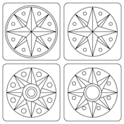 Small Picture Pennsylvania Hex Sign with Compass Rose coloring page Free